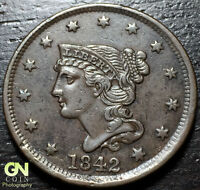 1842 BRAIDED HAIR LARGE CENT     MAKE US AN OFFER  G4660