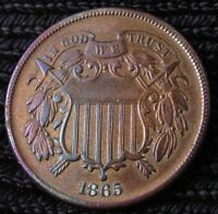 1865 TWO CENT PIECE   AU DETAILS 16050