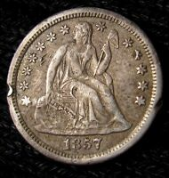 1857 O SEATED LIBERTY DIME   XF DETAILS   17016