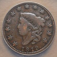 1819 CORONET MATRON HEAD UNITED STATES LARGE ONE CENT PENNY COIN - ANACS VG 8
