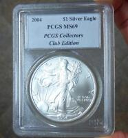 2004 PCGS MINT STATE 69 SILVER EAGLE DOLLAR COIN, PCGS COLLECTOR'S CLUB EDITION LABEL