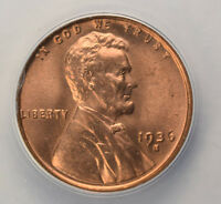1936-S 1C LINCOLN WHEAT CENT ANACS MINT STATE 65 RED