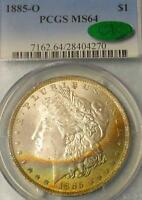 1885 O PCGS AND CAC CERTIFIED MINT STATE 64 SILVER MORGAN $1, OBV COLOR TONE, MINT STATE 64 COIN