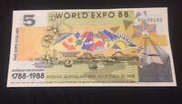 1X BANKNOTES AUSTRALIAN BRISBANE WORLD EXPO 1988 $5 DOLLAR UNCIRCULATED