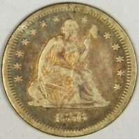 1876-S SEATED LIBERTY QUARTER - LIGHT COLORFULLY TONED FINE - PRICED RIGHT