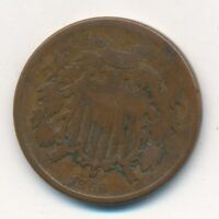 1866 TWO CENT PIECE- CIRCULATED 2 CENT TYPE COIN-SHIPS FREE  INV:2