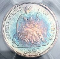 1890   SEATED LIBERTY SILVER DIME   MS 63 PCGS   MONSTER COLORFUL RAINBOW TONING