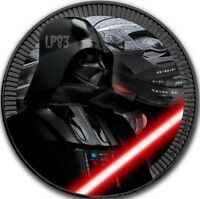 2017 1 OZ $2 STAR WARS DARTH VADER COIN WITH 24K BLACK RUTHENIUM.