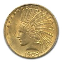 1908 $10 INDIAN GOLD EAGLE W/MOTTO MS 62 PCGS CAC