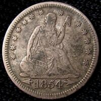 1854 SEATED LIBERTY QUARTER   XF DETAILS 17990