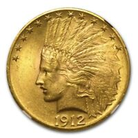 1912 $10 INDIAN GOLD EAGLE MS 62 NGC