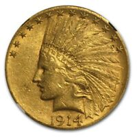 1914 S $10 INDIAN GOLD EAGLE AU 55 NGC