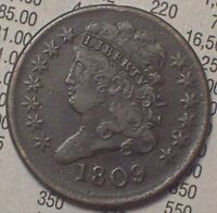 1809 HALF CENT CLASSIC HEAD VF/EXTRA FINE  DETAILING BROWN TONE- NEAR 180 ROTATED REV HC