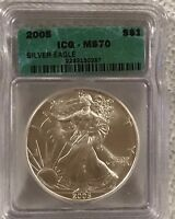 2005 SILVER EAGLE - ICG GRADED MS70