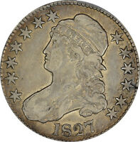 1827 PCGS VF-25 CAPPED BUST HALF DOLLAR 50C - OVERTON 136 - SQUARE BASE 2