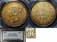 Click now to see the BUY IT NOW Price! ELITE COINS   NEWFOUNDLAND 50 CENTS 1873   REPUNCHED T EF45 PCGS  LX120
