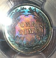 1894   BARBER SILVER DIME   MS 63 PCGS   MONSTER COLORFUL RAINBOW TONING TONED