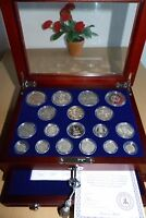 HOUSE OF WINDSOR COMPLETE SILVER 18 COIN COLLECTION WITH DIS