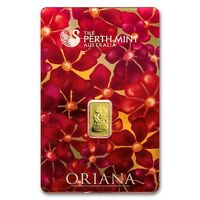 1 GRAM GOLD BAR   PERTH MINT ORIANA DESIGN  IN ASSAY