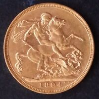 1894 AUSTRALIA ONE SOVEREIGN GOLD   .916   COIN QUEEN VICTOR