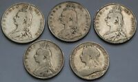 GREAT BRITAIN .925 SILVER HALF CROWNS FLORINS LOT 1887 1900