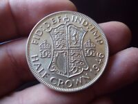 GREAT BRITAIN HALF CROWN 1946 SILVER XF COIN A584