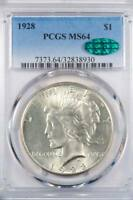 1928 $1.00 PEACE SILVER DOLLAR   MS 64 CAC APPROVED   BOOKS @ $1600   PRISTINE