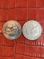 INDONESIA 1978   TWO 100 RUPIAH COPPER NICKEL COINS