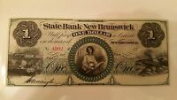 1860 STATE BANK OF NEW BRUNSWICK ONE DOLLAR OBSOLETE CURRENCY