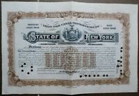 STATE OF NEW YORK LOAN 1910 1960 FOR CANAL IMPROVEMENT 1910  1.000 $