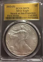 2013 S  SILVER EAGLE PCGS MS70 FIRST STRIKE STRUCK SAN FRANCISCO GOLD FOIL