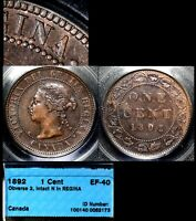 XMAS SALE CANADA LARGE CENT   1892 OBV.2   FIXED N REGINA   EF40  N085C