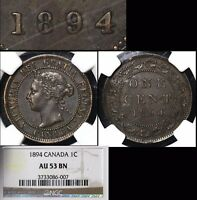 XMAS SALE CANADA LARGE CENT   1894   THICK 4   AU53  N104C
