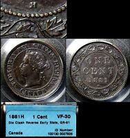 XMAS SALE CANADA LARGE CENT   1881H   DIE CLASH REVERSE EARLY   VF30  N054C