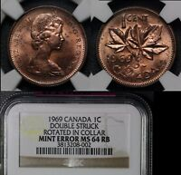 ELITE COINS   CANADA ERROR 1C   1969 DOUBLE STRUCK 50 DEGREES   MS64  LX139