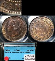 XMAS SALE CANADA LARGE CENT   1859 REPUNCHED A IN CANADA   HAXBY 38 AU50  N032C