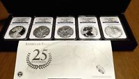 2011 SILVER EAGLE 25TH ANNIVERSARY SET MS/PF 70 NGC   EARLY RELEASE