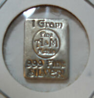 A&M 1 GRAM SILVER BAR   HANDCRAFTED AND SELDOM FOUND. COLLECTABLE