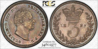 PCGS AU 58 GREAT BRITAIN SILVER 3 PENCE THREEPENCE 1837  MIN
