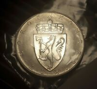 NORWAY 1964 10 KRONER SILVER BRILLIANT UNCIRCULATED 90 PCT CROWN COIN