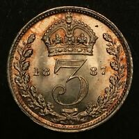 1887 GREAT BRITAIN 3 PENCE AU/BU SILVER COIN WITH BEAUTIFUL