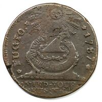 1787 17 S R 3 POINTED RAYS FUGIO COLONIAL COPPER COIN