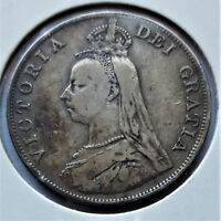 1890 GREAT BRITAIN D OUBLE FLORIN QUEEN VICTORIA.  0.925 SIL
