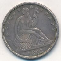 1846 SEATED LIBERTY SILVER HALF DOLLAR TALL DATE STRONG DETAILS  SHIPS FREE