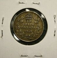 1919 CANADA KING GEORGE V   SILVER DIME   10 CENTS   EF