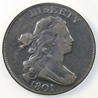 1801 S-224 NCS VF DETAILS DRAPED BUST LARGE CENT COIN 1C EX; RASMUSSEN