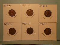 1945-D, 1945-S, 1947-D, 1947-S, 1952-D, 1952-S, LINCOLN 1 WHEAT-BACKS