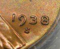 1938 S/S PCGS MINT STATE 66 RED RPM FS-501 WHEAT CENT, MINT STATE 66 MINT ERROR VARIETY CENT