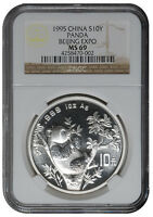 1995 SILVER PANDA BEIJING COIN EXPO S10Y NGC MINT STATE 69 - NCS CONSERVED