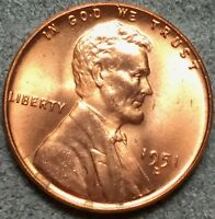 1951 D RED RD UNCIRCULATED LINCOLN WHEAT CENT PENNY L604 FREE SHIP